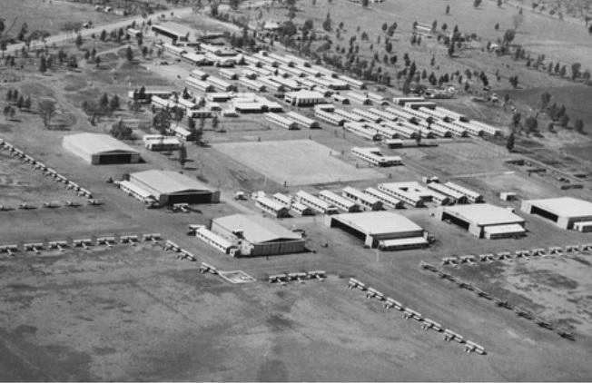 Aerial view of RAAF's No. 10 Elementary Flying Training School at Temora.