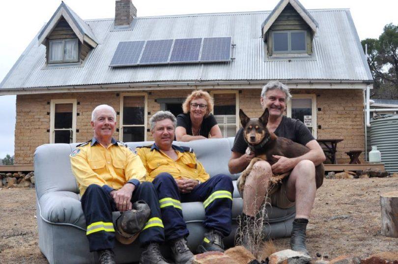 Richard Glover, Debra Oswald, John Sullivan and Peter Davies outside Taralga house.