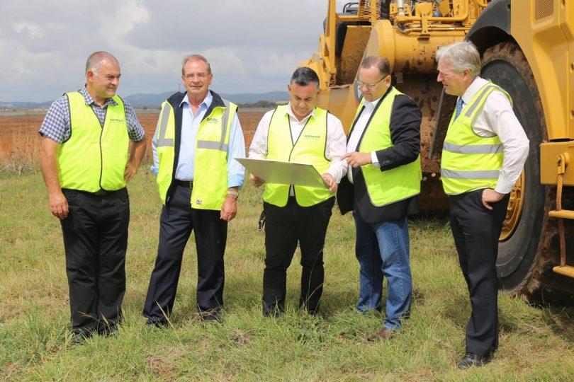 Trevor Hicks, Tim Overall, John Barilaro, Mark Schweikert and Tim Geyer at site of the new Bungendore Sports Hub.
