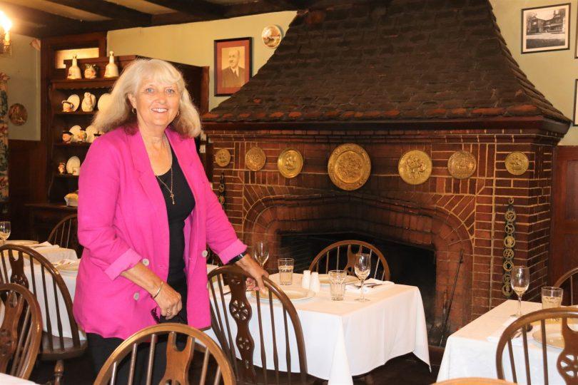 Carol James inside The Fireside Inn.