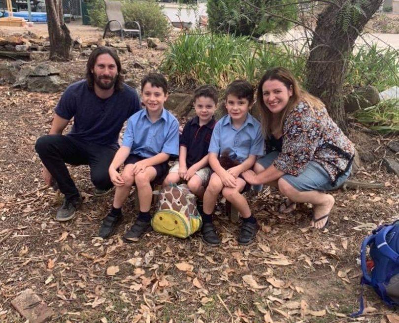 Sam, Jackson, Gabriel, Ivan and Claire Pearce outside their Goulburn home.
