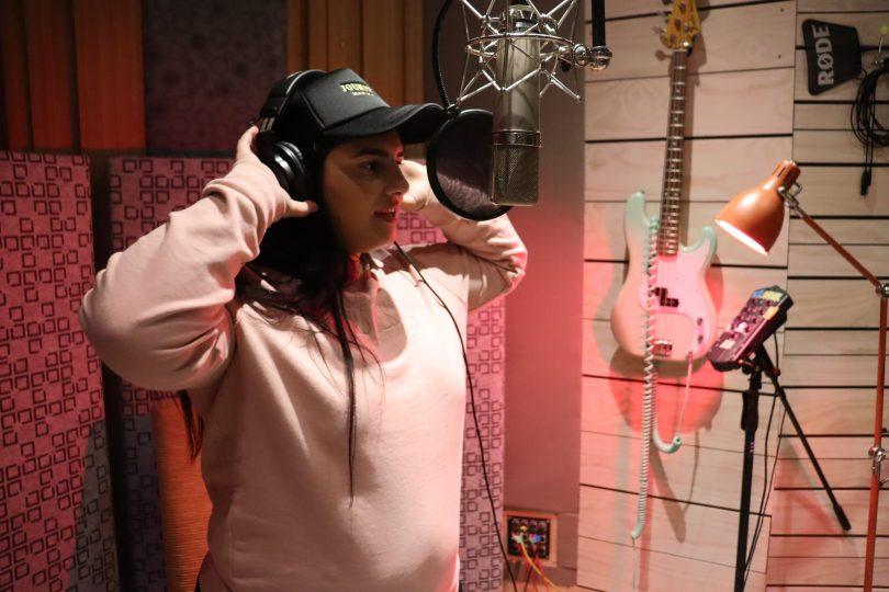 Mariah Keramianaki in recording studio