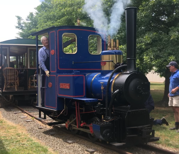 Dick Smith on his steam train