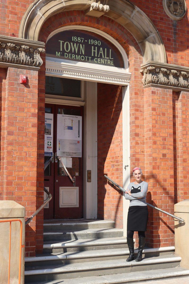 Raina Savage standing outside McDermott Centre in Goulburn