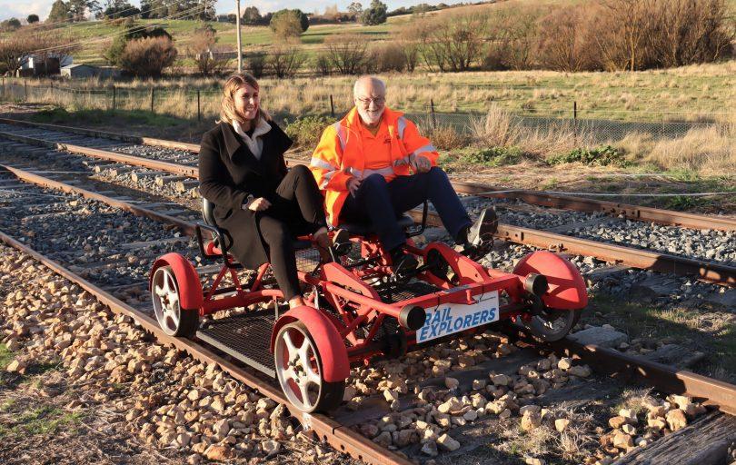 Hannah Sparks and Peter Simpson on rail bike
