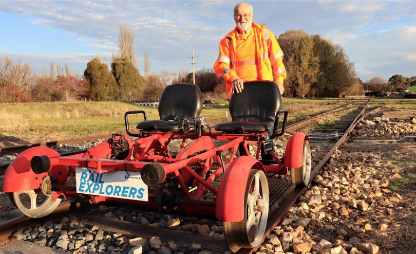 Peter Simpson and rail bike