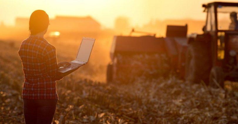 Woman farmer watching rural harvest holding laptop computer