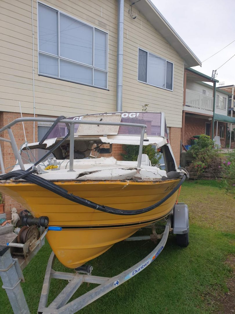 Damaged boat after accident
