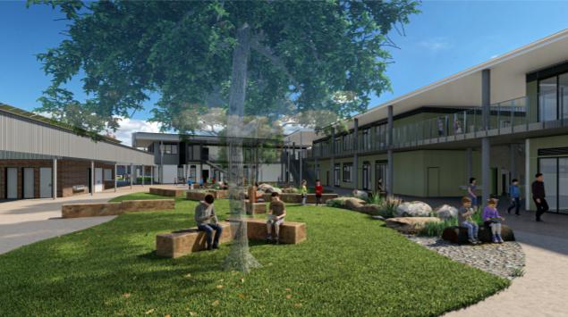 Artist's impression of outdoor area at new primary school in Murrumbateman