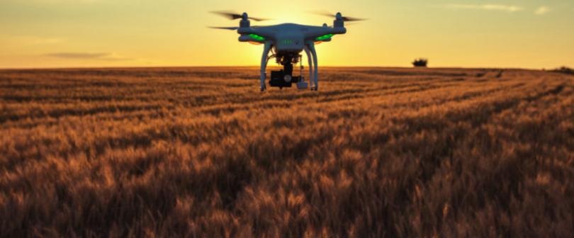 Drone flying above high-tech farm