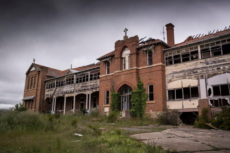 Exterior of dilapidated St John's Orphanage in Goulburn