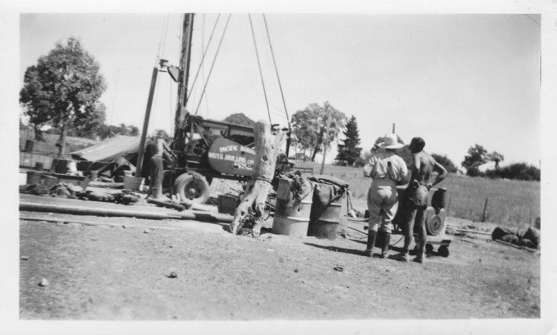 Pacific Boring Company sinking the village bore at Murrumbateman in 1952