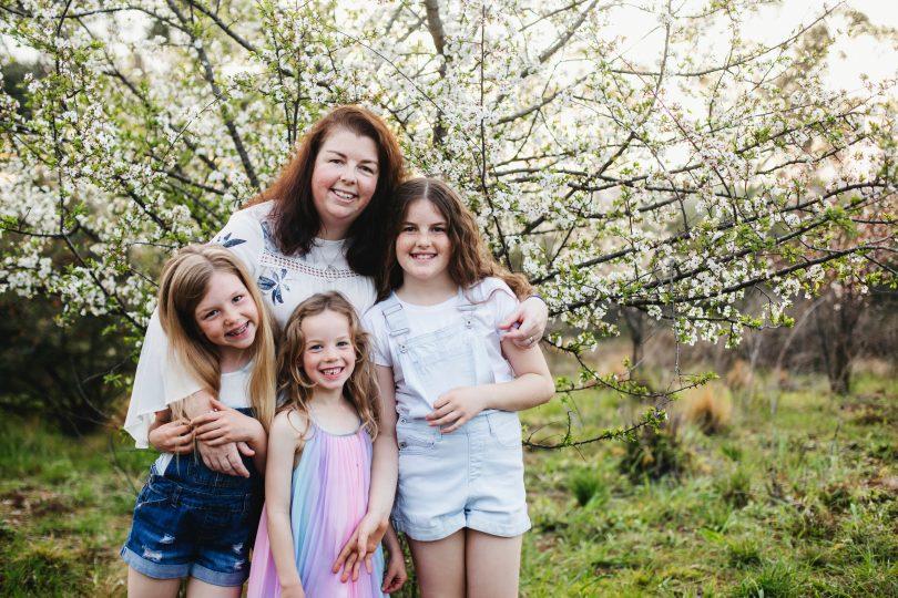 Bec Duncan with daughters Matilda, Elsie and Elizabeth