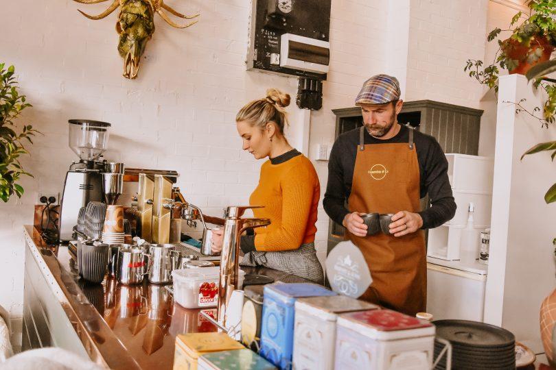 Adrian making coffee at Ensemble & Co