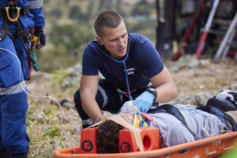 Dean on stretcher