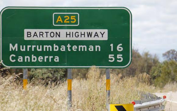 Roadside sign on Barton Highway