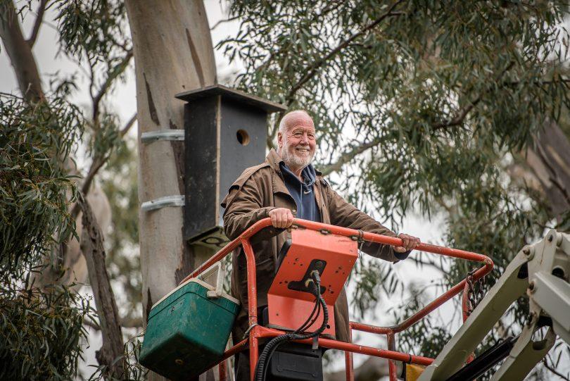 Neil Hermes in cherry picker