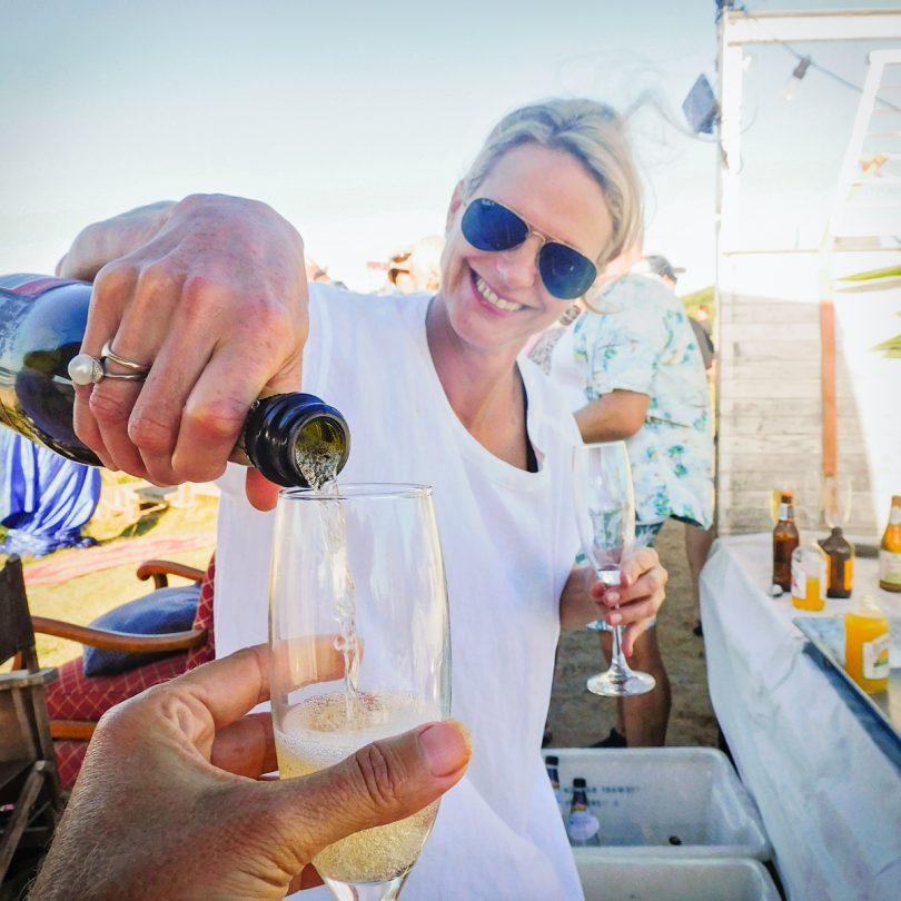 Tessa Schwarz pouring sparkling wine